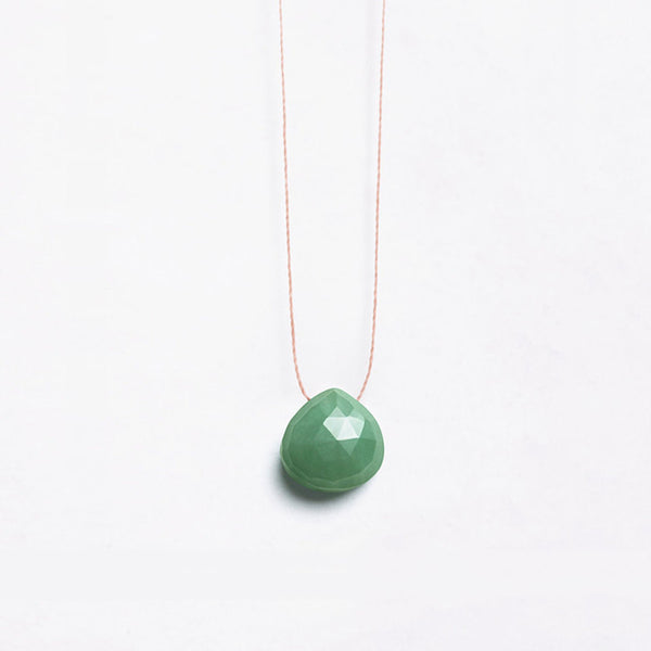 Wanderlust Life Green Aventurine Necklace – faceted green gem subtly on a natural tone thread