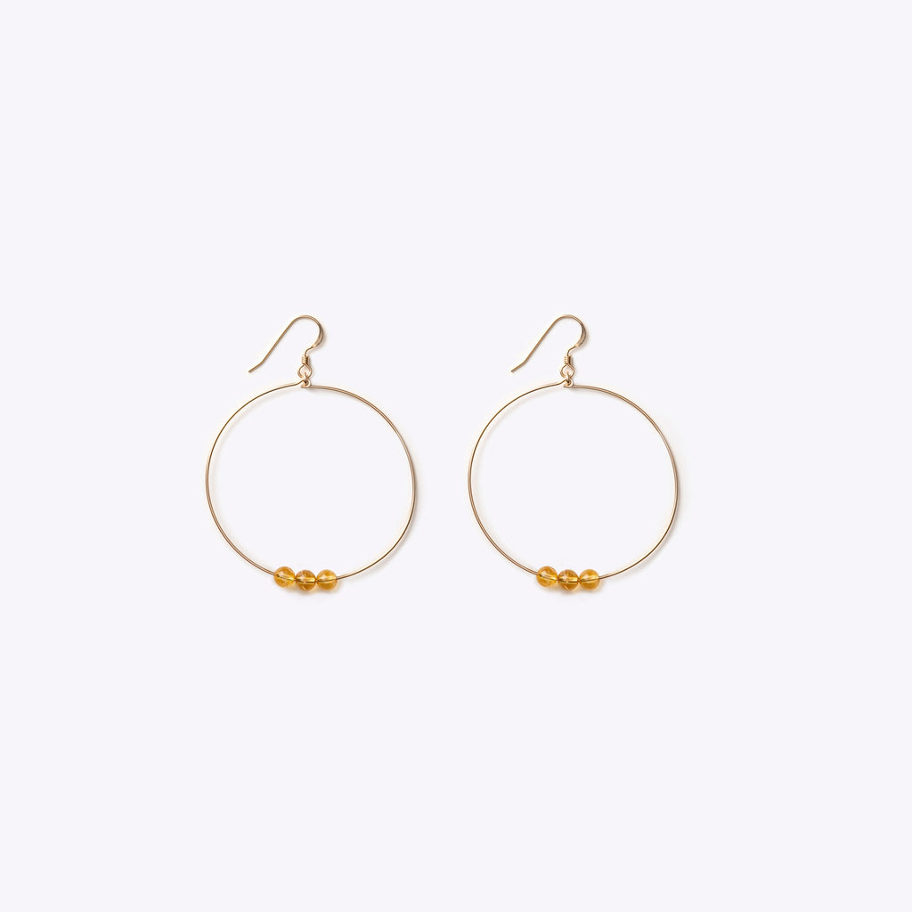 Wanderlust Life Enso Large Beaded Hoop Citrine Earrings