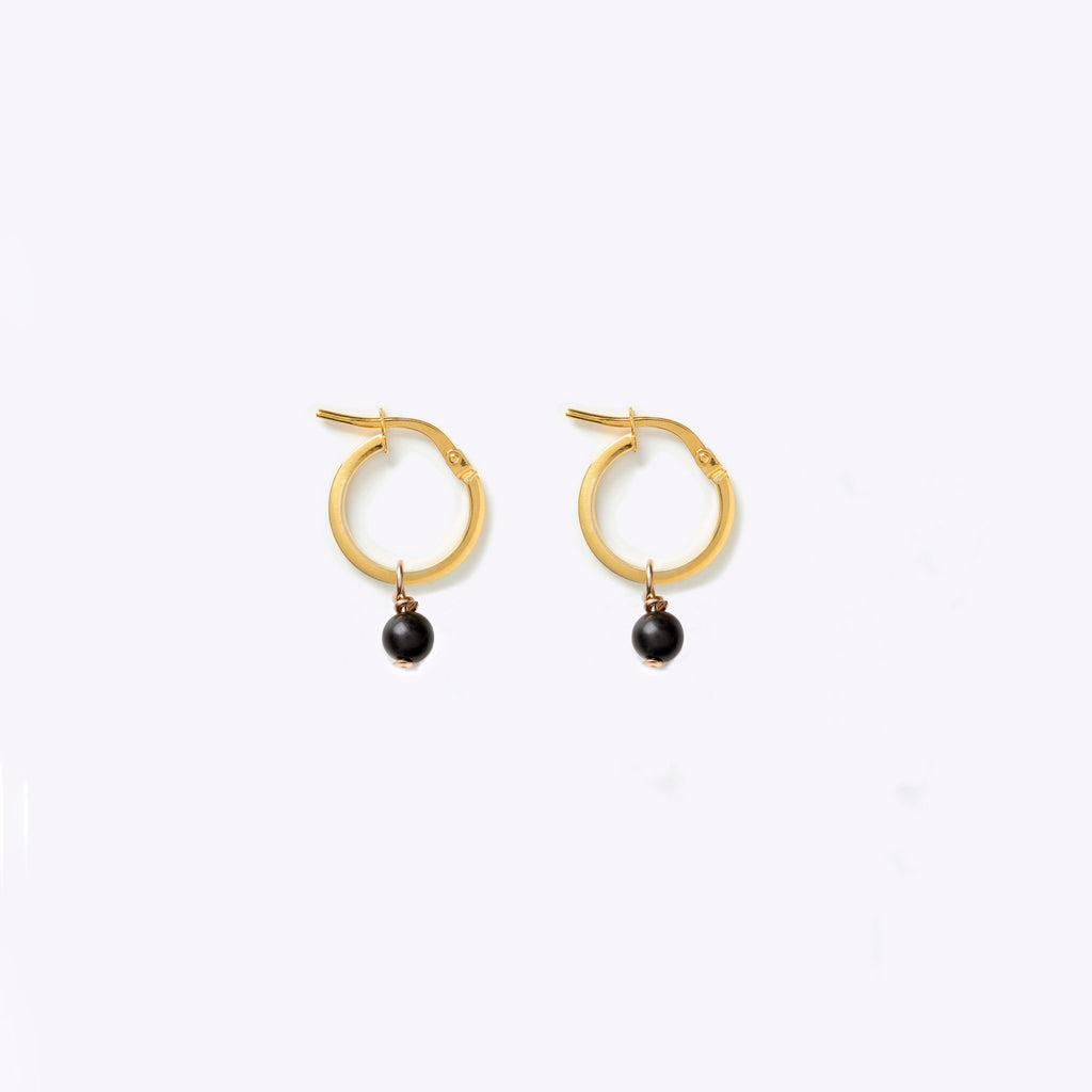 Wanderlust Life Obsidian Creole Gold Hoop Earrings