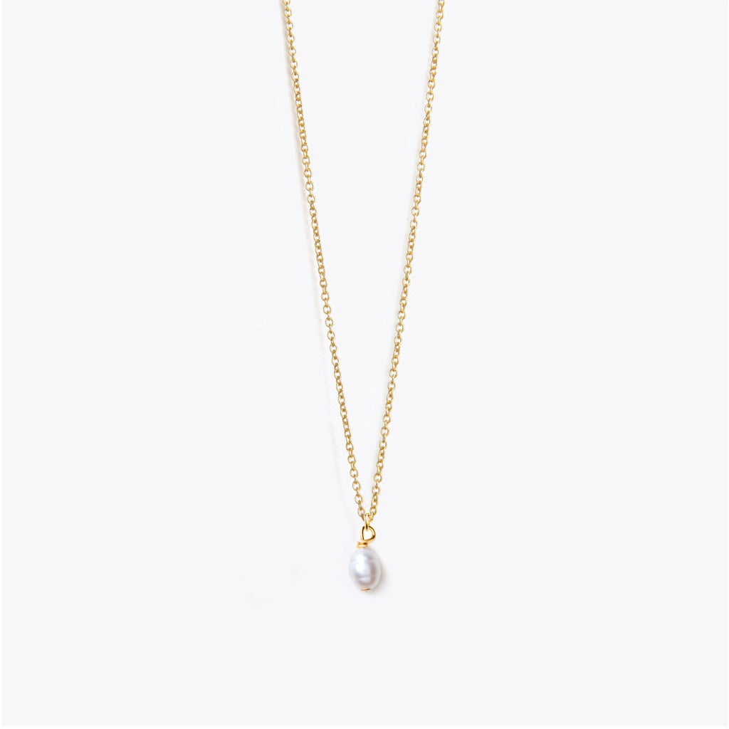 Wanderlust Life White Pearl Fine Gold Chain Necklace