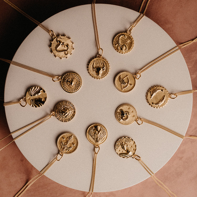 Rachel Jackson Pisces Zodiac Art Coin Gold Necklace