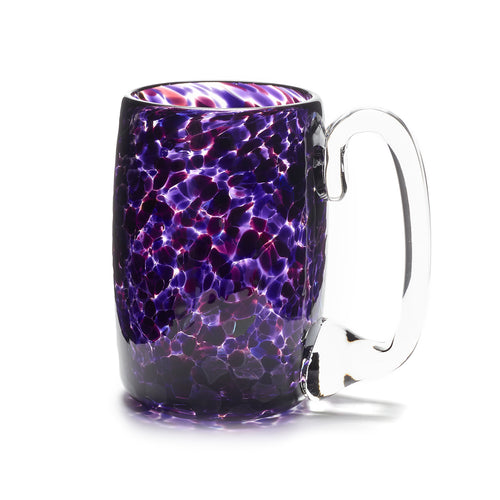hand blown purple glass beer mug made in Canada