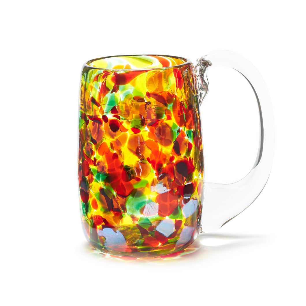 hand blown red orange yellow green glass beer mug made in Canada