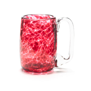 hand blown cranberry pink glass beer mug made in Canada