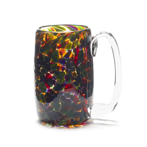 hand blown red blue purple yellow green glass beer mug made in Canada