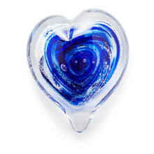 Load image into Gallery viewer, Cobalt Blue Heart memorial glass paperweight cremated ash Ontario Canada