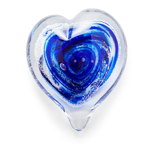 Cobalt Blue Heart memorial glass paperweight cremated ash Ontario Canada