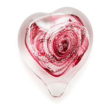 Load image into Gallery viewer, Cranberry Pink Heart memorial glass paperweight cremated ash Ontario Canada