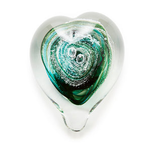 Emerald Green Heart memorial glass paperweight cremated ash Ontario Canada