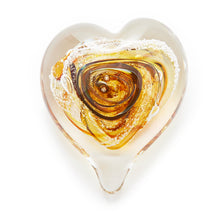 Load image into Gallery viewer, Yellow Gold Heart memorial glass paperweight cremated ash Ontario Canada