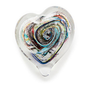 Multicoloured Rainbow Pink Heart memorial glass paperweight cremated ash Ontario Canada