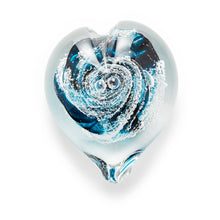 Load image into Gallery viewer, Teal Blue Heart memorial glass paperweight cremated ash Ontario Canada