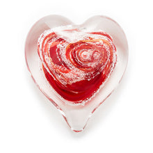 Load image into Gallery viewer, Red Heart memorial glass paperweight cremated ash Ontario Canada