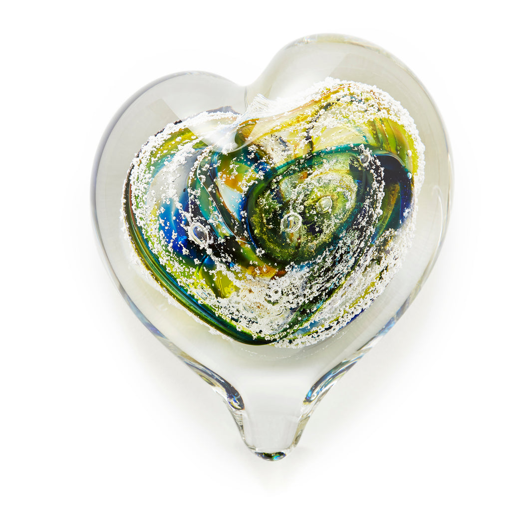 Spring Heart memorial glass paperweight cremated ash Ontario Canada
