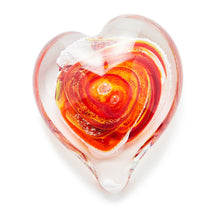 Load image into Gallery viewer, Sunburst Heart memorial glass paperweight cremated ash Ontario Canada