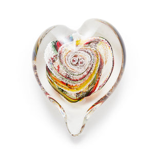 Autumn Heart memorial glass paperweight cremated ash Ontario Canada