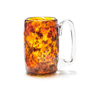 hand blown yellow gold glass beer mug made in Canada