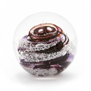 Purple Glass memorial cremation ash paperweight Ontario Canada