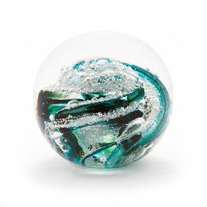 Emerald Green Glass memorial cremation ash paperweight Ontario Canada
