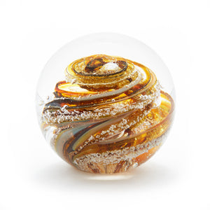 Iris Gold Glass memorial cremation ash paperweight Ontario Canada