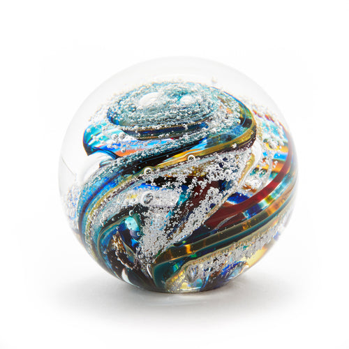 Glass memorial cremation ash paperweight Ontario Canada