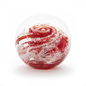 Handmade Glass Round Memorial Paperweight containing Cremated Ash Cremains Red Ontario Canada