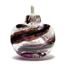 Load image into Gallery viewer, Memorial glass oil lamp containing cremated ash handmade in Ontario Canada