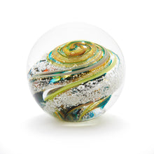 Load image into Gallery viewer, Handmade Glass Round Memorial Paperweight containing Cremated Ash Cremains Summer Ontario Canada