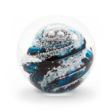 Load image into Gallery viewer, Teal Purple Glass memorial cremation ash paperweight Ontario Canada