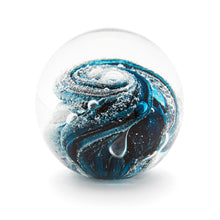 Load image into Gallery viewer, Teal Glass memorial cremation ash paperweight Ontario Canada