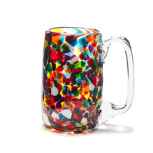 Load image into Gallery viewer, hand blown multi coloured rainbow glass beer mug made in Canada