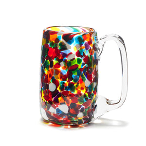 hand blown multi coloured rainbow glass beer mug made in Canada