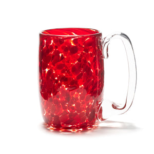 hand blown ruby red glass beer mug made in Canada