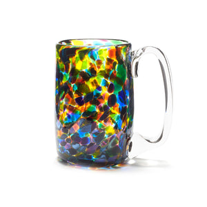 hand blown pink blue purple yellow green glass beer mug made in Canada
