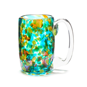 hand blown teal yellow green glass beer mug made in Canada