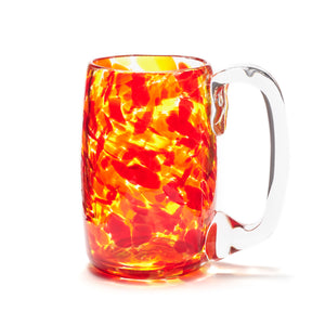 hand blown red orange yellow glass beer mug made in Canada
