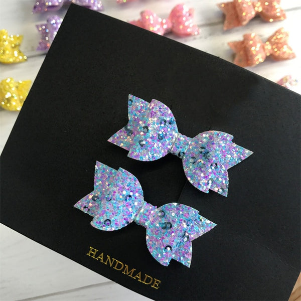 Bows - 2pcs Handmade Mini Sequins Litlle Girls Hair Bows Clips Shiny Glitter Cute Hairpins Daily School Barrettes Headwear  Accessoires
