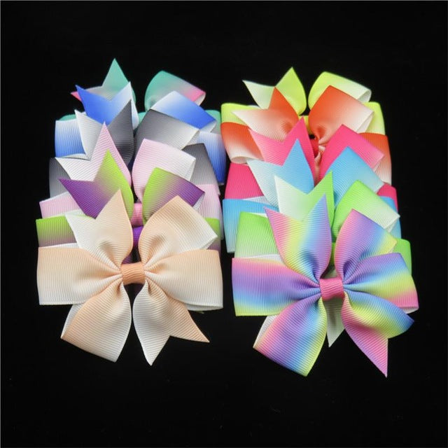 Bows - 20PCS/Lot Solid Boutique Grosgrain Ribbon Girl Bow Elastic Hair Tie Clip Hair Band Bow DIY Hair Accessories Best Gift 2018