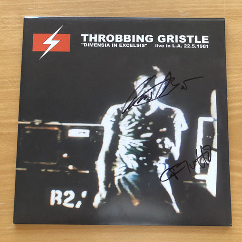 Throbbing Gristle 'Dimensia In Excelsis: Live In L.A. 22.5.1981' Vinyl LP Signed by C&C