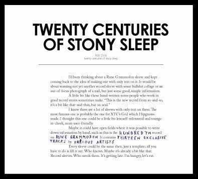 Various 'Twenty Centuries Of Stony Sleep' - Cargo Records UK
