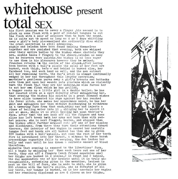 Whitehouse 'Total Sex' CD PRE-ORDER