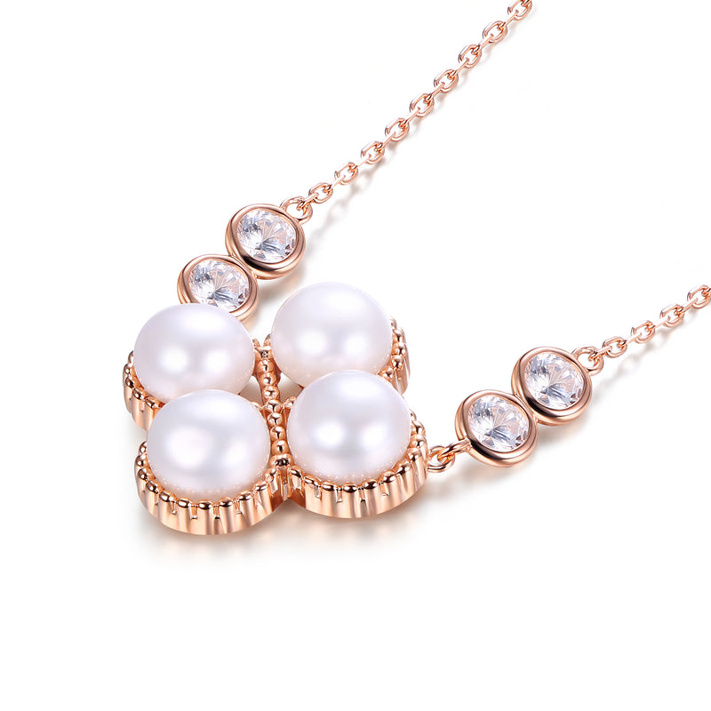Clover Cultured Pearl Sterling Silver Necklace