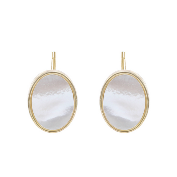 Oval White Shell Sterling Silver Plated Gold Stud Earring