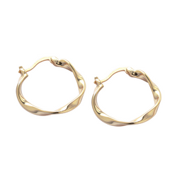 Irregular Exaggerated Circle Sterling Silver Plated Gold Earring