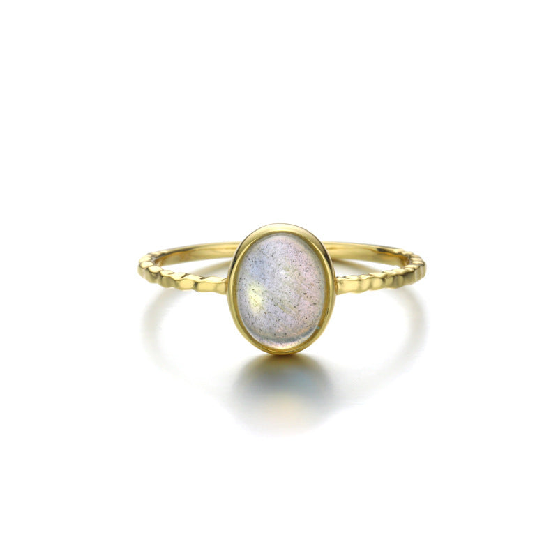 Natural Labradorite Stone Sterling Silver Ring-DL-Juri Elle