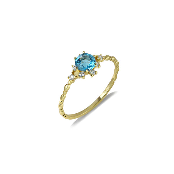 Blue Topaz Stone Sterling Silver Ring-DL-Juri Elle