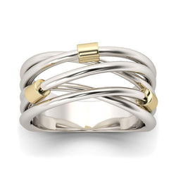 Two Tone Crossover Sterling Silver Ring-JE-Juri Elle