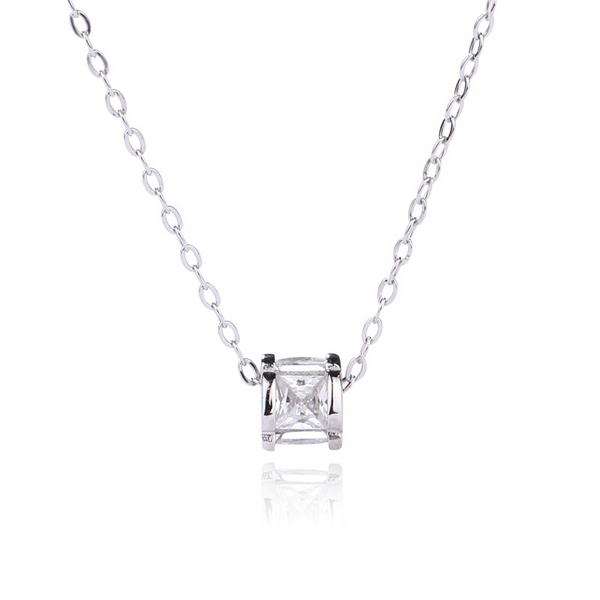 Geometric Cylinder Princess Cut Sterling Silver Plated Platinum Necklace