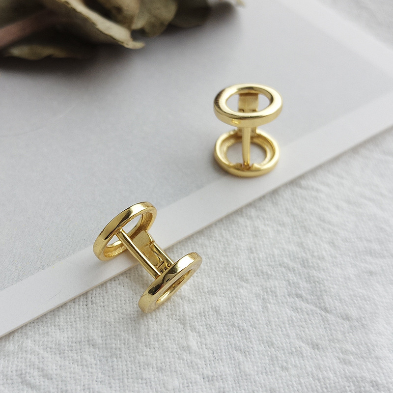 Cylindrical Hourglass Sterling Silver Plated Gold Earring
