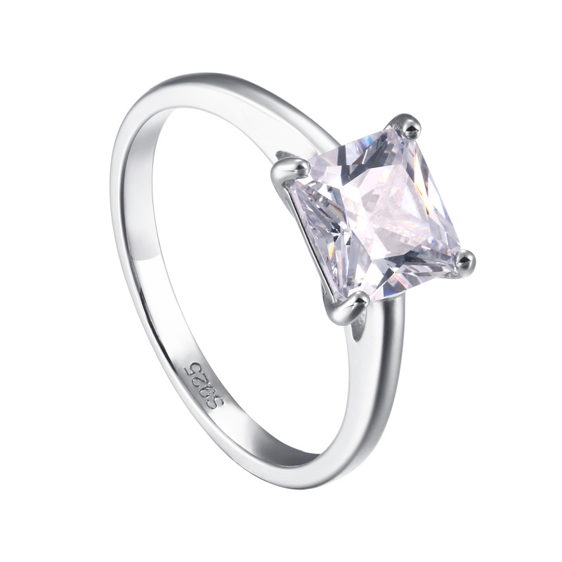Solitaire Princess Cut Sterling Silver Ring-TL-Juri Elle